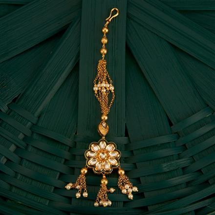 300757 Kundan Delicate Tikka With Gold Plating
