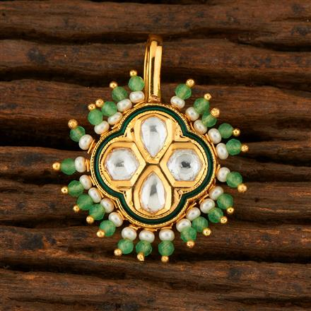 300763 Kundan Pressing Nose Ring With Gold Plating