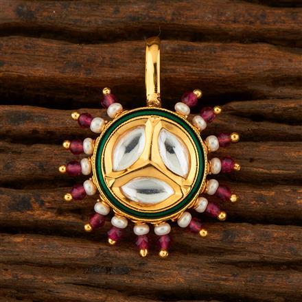 300766 Kundan Pressing Nose Ring With Gold Plating
