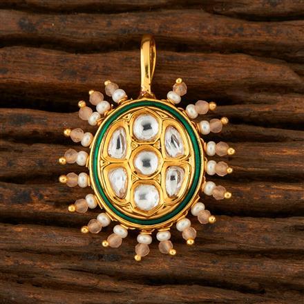 300768 Kundan Pressing Nose Ring With Gold Plating