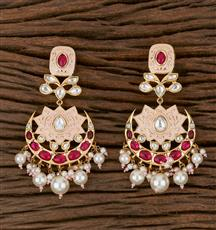 300774 Kundan Chand Earring With Gold Plating