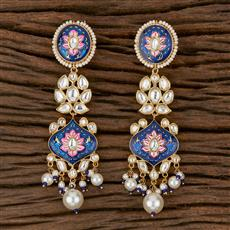300776 Kundan Long Earring With Gold Plating