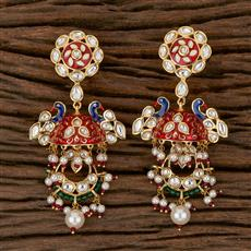 300777 Kundan Peacock Earring With Gold Plating