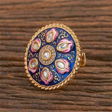 300778 Kundan Classic Ring With Gold Plating