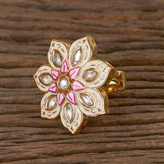 300779 Kundan Classic Ring With Gold Plating