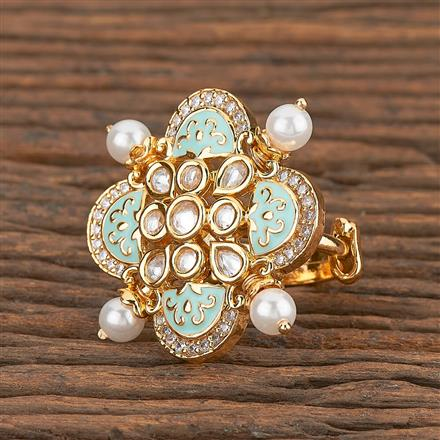 300780 Kundan Classic Ring With Gold Plating
