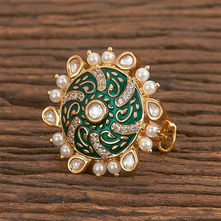 300781 Kundan Classic Ring With Gold Plating