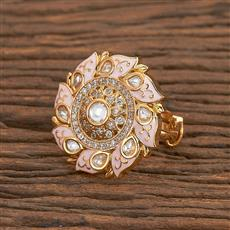 300782 Kundan Classic Ring With Gold Plating
