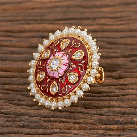 300783 Kundan Classic Ring With Gold Plating