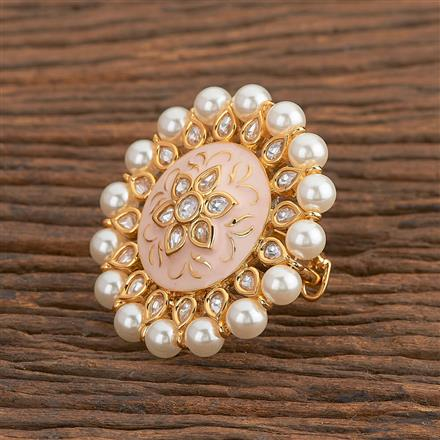 300784 Kundan Classic Ring With Gold Plating