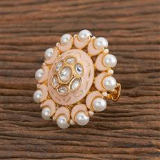 300785 Kundan Classic Ring With Gold Plating