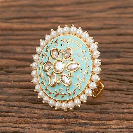300786 Kundan Classic Ring With Gold Plating