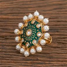 300787 Kundan Classic Ring With Gold Plating
