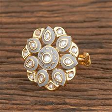 300788 Kundan Classic Ring With Gold Plating