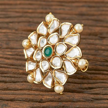 300792 Kundan Classic Ring With Gold Plating