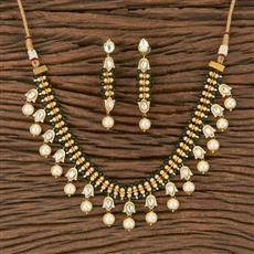300794 Kundan Delicate Necklace With Gold Plating