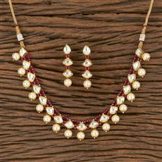 300795 Kundan Delicate Necklace With Gold Plating