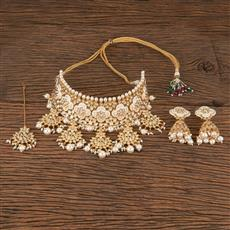 300800 Kundan Mukut Necklace With Gold Plating