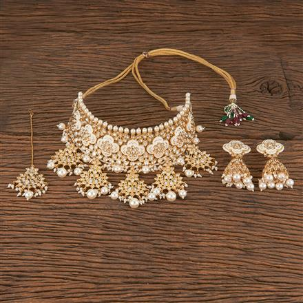 300800 Kundan Mukut Necklace With Gold Plating