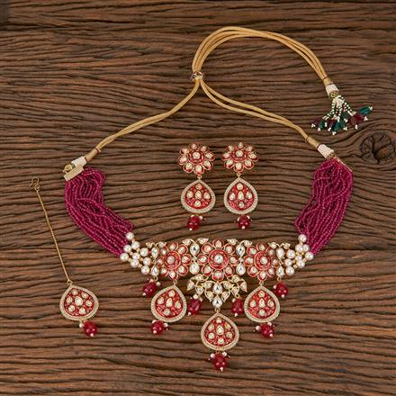 300801 Kundan Choker Necklace With Gold Plating