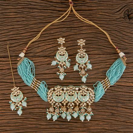 300803 Kundan Choker Necklace With Gold Plating