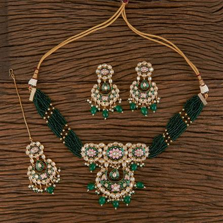 300804 Kundan Choker Necklace With Gold Plating