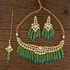 300805 Kundan Classic Necklace With Gold Plating