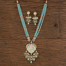 300807 Kundan Peacock Necklace With Gold Plating