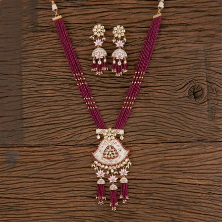 300808 Kundan Mala Pendant Set With Gold Plating