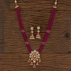300809 Kundan Mala Pendant Set With Gold Plating