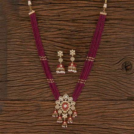 300809 Kundan Mala Pendant Set With Gold Plating