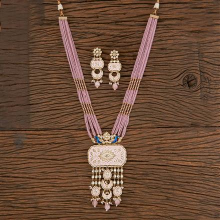 300810 Kundan Mala Pendant Set With Gold Plating