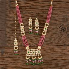 300811 Kundan Long Necklace With Gold Plating