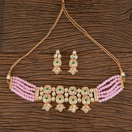 300812 Kundan Choker Necklace With Gold Plating