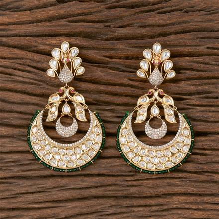 300825 Kundan Peacock Earring With Gold Plating