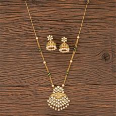 300827 Kundan Mala Pendant Set With Gold Plating