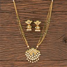300828 Kundan Peacock Pendant Set With Gold Plating