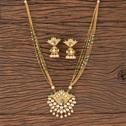 300828 Kundan Peacock Pendant Set With Gold Plating