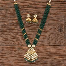 300831 Kundan Mala Pendant Set With Gold Plating