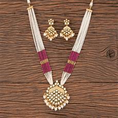 300832 Kundan Mala Pendant Set With Gold Plating