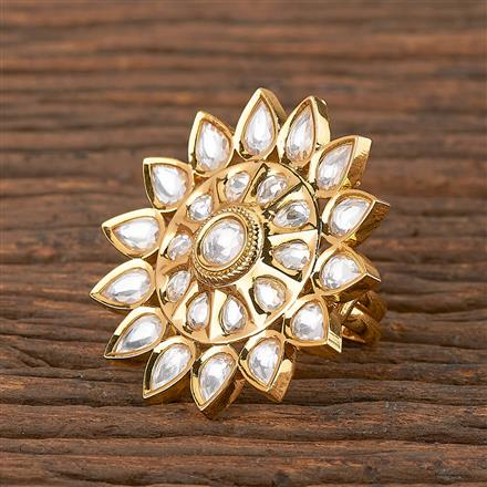 300834 Kundan Classic Ring With Gold Plating