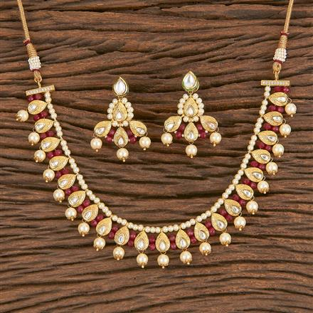 300838 Kundan Choker Necklace With Gold Plating