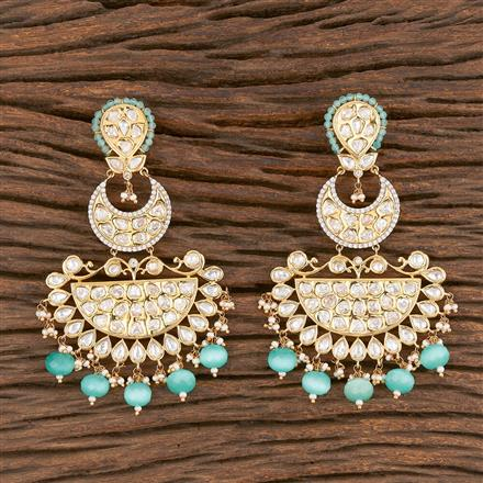 300849 Kundan Long Earring With Gold Plating