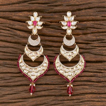 300850 Kundan Long Earring With Gold Plating