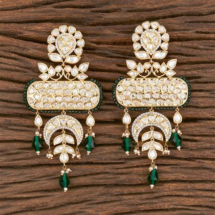 300851 Kundan Chand Earring With Gold Plating