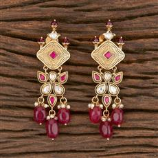 300855 Kundan Classic Earring With Gold Plating