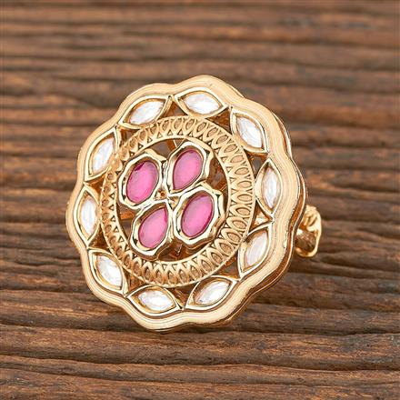 300857 Kundan Classic Ring With Gold Plating