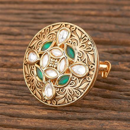 300860 Kundan Classic Ring With Gold Plating