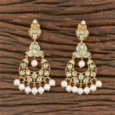 300861 Kundan Chand Earring With Gold Plating