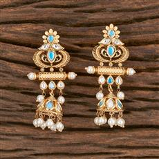 300862 Kundan Jhumkis With Gold Plating
